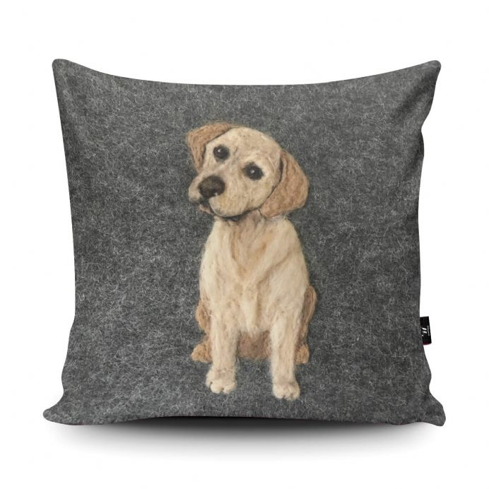 Labrador Dog Print vegan faux suede cushion with a Fibre Inner by Sharon Salt